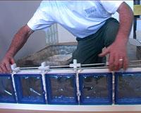 Saverbat panneaux en briques de verre joint mortier - Montage brique de verre exterieur ...